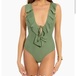 Ruffled Plunging Knot Tie One Piece Swimsuit